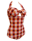 Plaid Halter Tie Front Vintage Style One Piece Swimsuits GDCG1014 | Gardenwed
