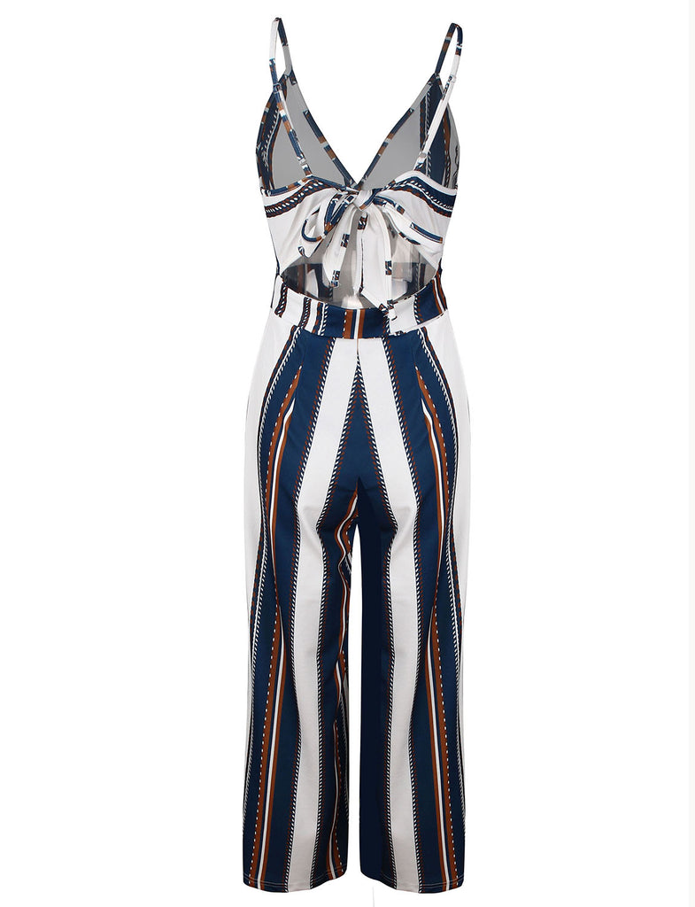 Women's Spaghetti Straps Backless Stripe Long Wide Pants Casual Long Jumpsuits GDCG1021 | Gardenwed