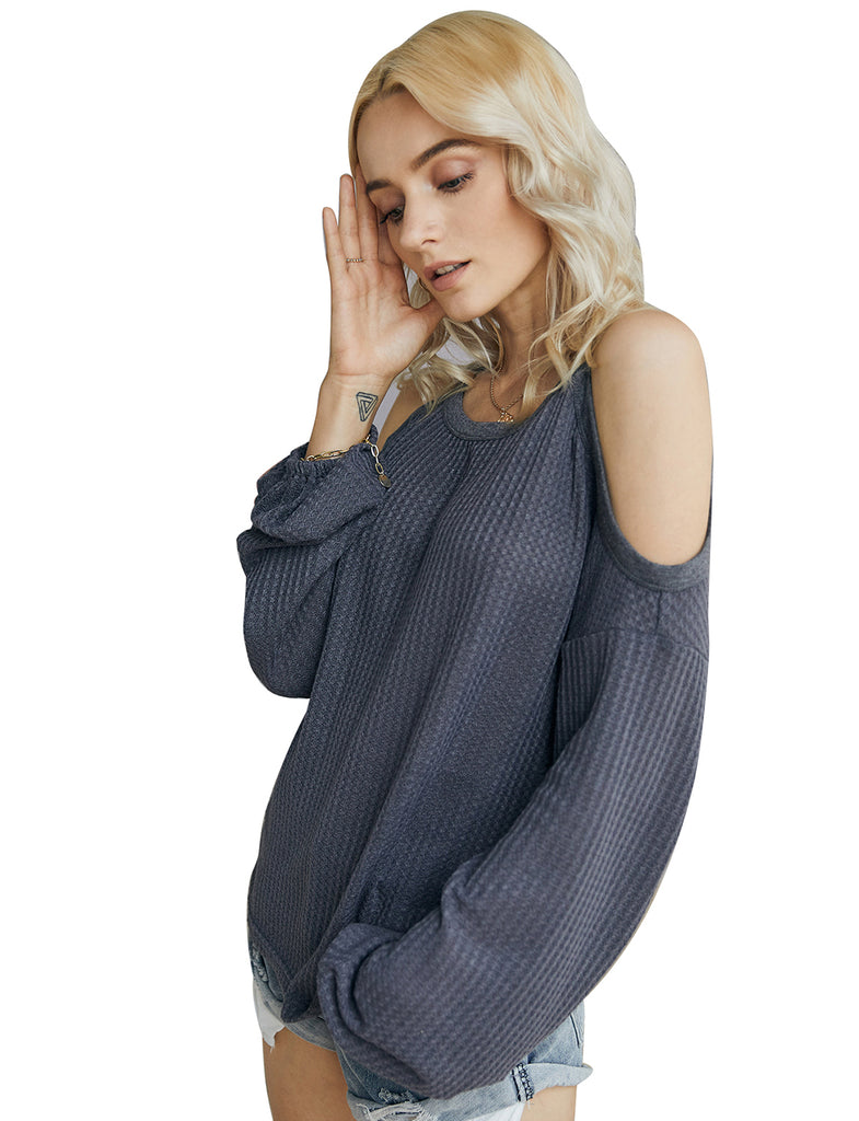 Women's Waffle Knit Cold Shoulder Pullover Long Sleeve Tops GDCG1022 | Gardenwed