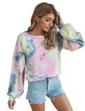 Early Fall Outfit Tie Dye Long Sleeve Pullover Sweatshirts
