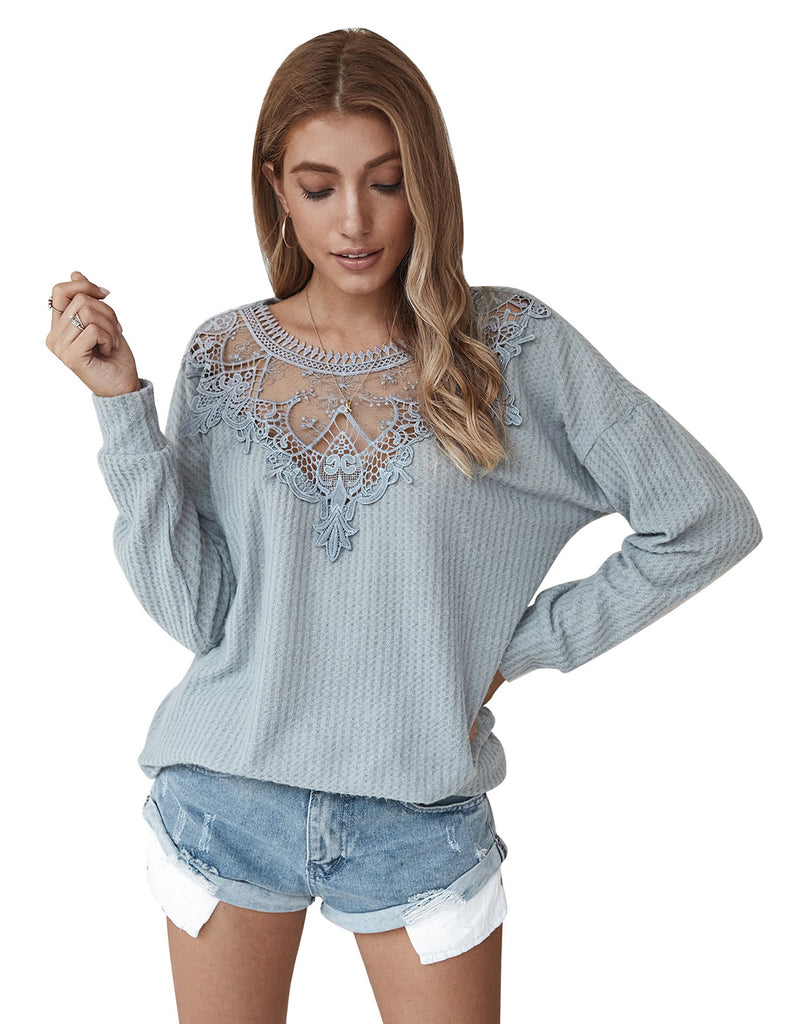 Women's Long Sleeve Oversized Pullover Waffle Knit Top GDCG1025 | Gardenwed