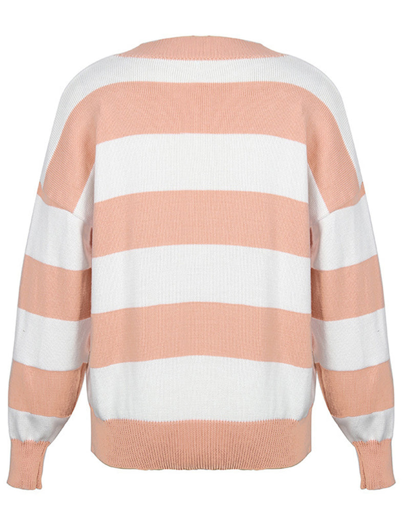 Women's Waffle Knit Color Block Striped Button Down Cardigans GDCG1026 | Gardenwed