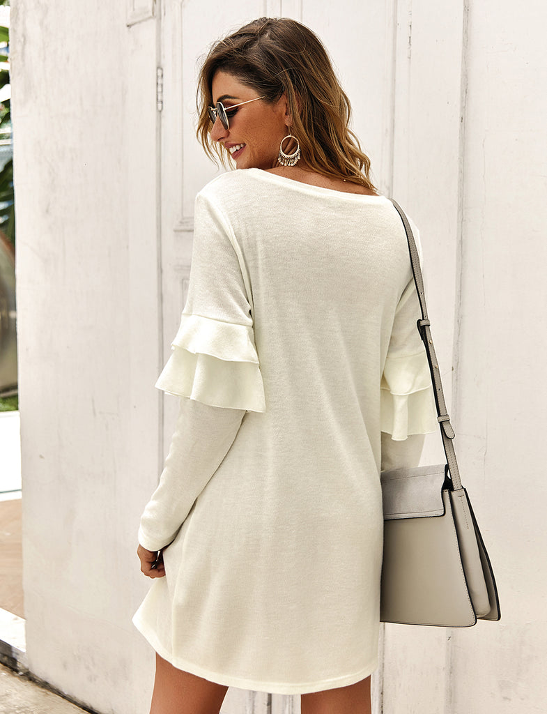 Autumn Winter Long Sleeve Soft Loose Elegant Sweater Dresses GDCG1029 | Gardenwed