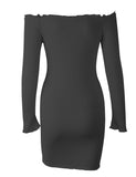 Women's Off Shoulder Slim Fit Pullover Mini Sweater Dress GDCG1030 | Gardenwed