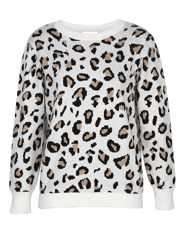Open Back Leopard Print Long Sleeve Fashion Pullover Sweater GDCG1032 | Gardenwed