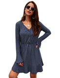 Flare Sleeve Ribbed Knit Solid Color Cheap Autumn Dresses