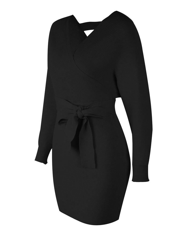 Women's Sexy Batwing Long Sleeve Mock Wrap Sweater Dresses GDCG1034 | Gardenwed