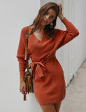 Batwing Long Sleeve Wrap Autumn Bodycon Knit Sweater Dresses