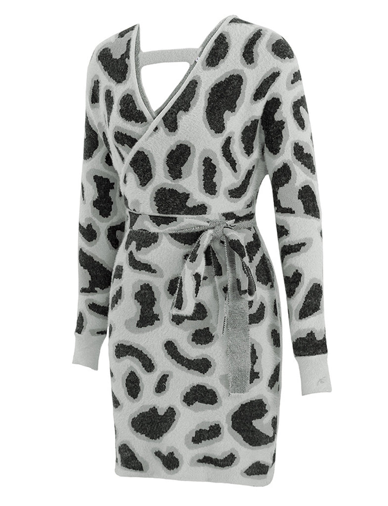 Chic Leopard Print Long Sleeves Elegant Sweater Pencil Dress GDCG1035 | Gardenwed