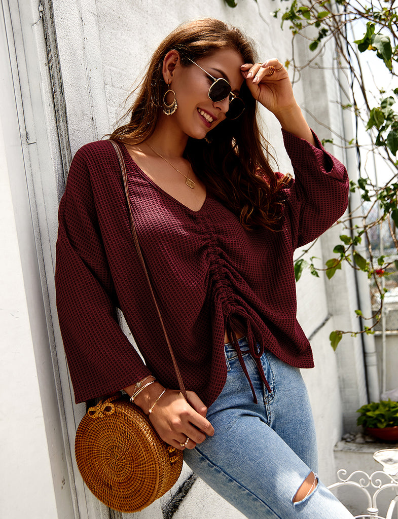 Women's Casual Long Sleeve V-Neck Gathered Knitted Crop Top GDCG1036 | Gardenwed