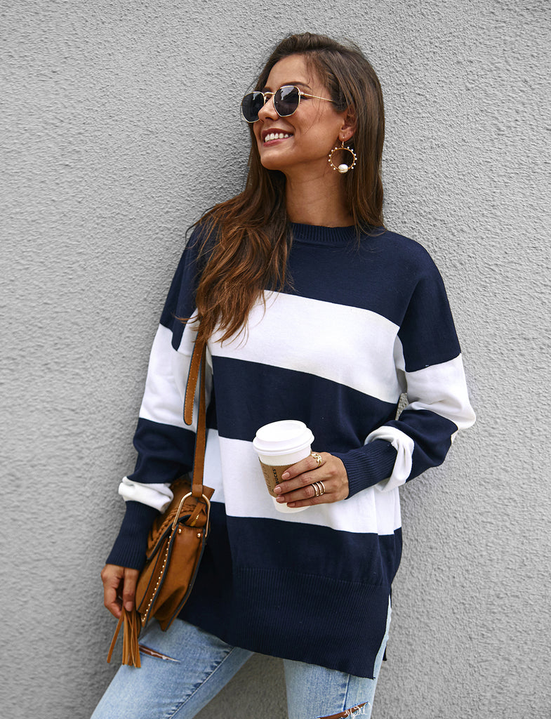 Women's Long Sleeve Striped Color Block Comfy Loose Sweater GDCG1037 | Gardenwed
