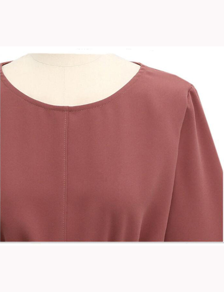 Women's Self Belted Casual Long Sleeve Plus Size Blouse Top GDCG1039 | Gardenwed