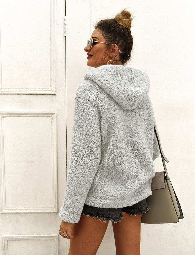 Women Long Sleeve Hoodie Faux Fur Solid Color Pullover Tops GDCG1042 | Gardenwed