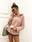 Women Long Sleeve Hoodie Faux Fur Solid Color Pullover Tops