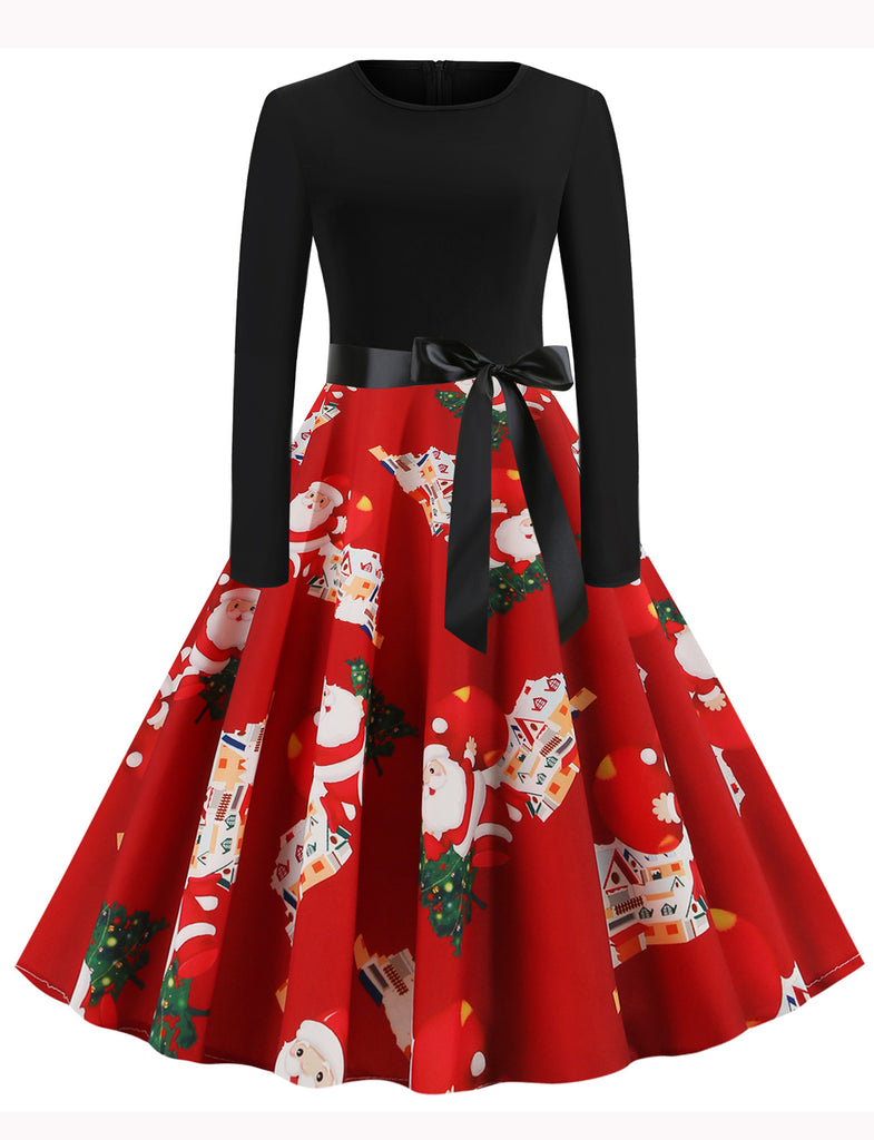 GDCG1044 1950s Style Long Sleeve Scoop Father Christmas Swing Dresses | Gardenwed