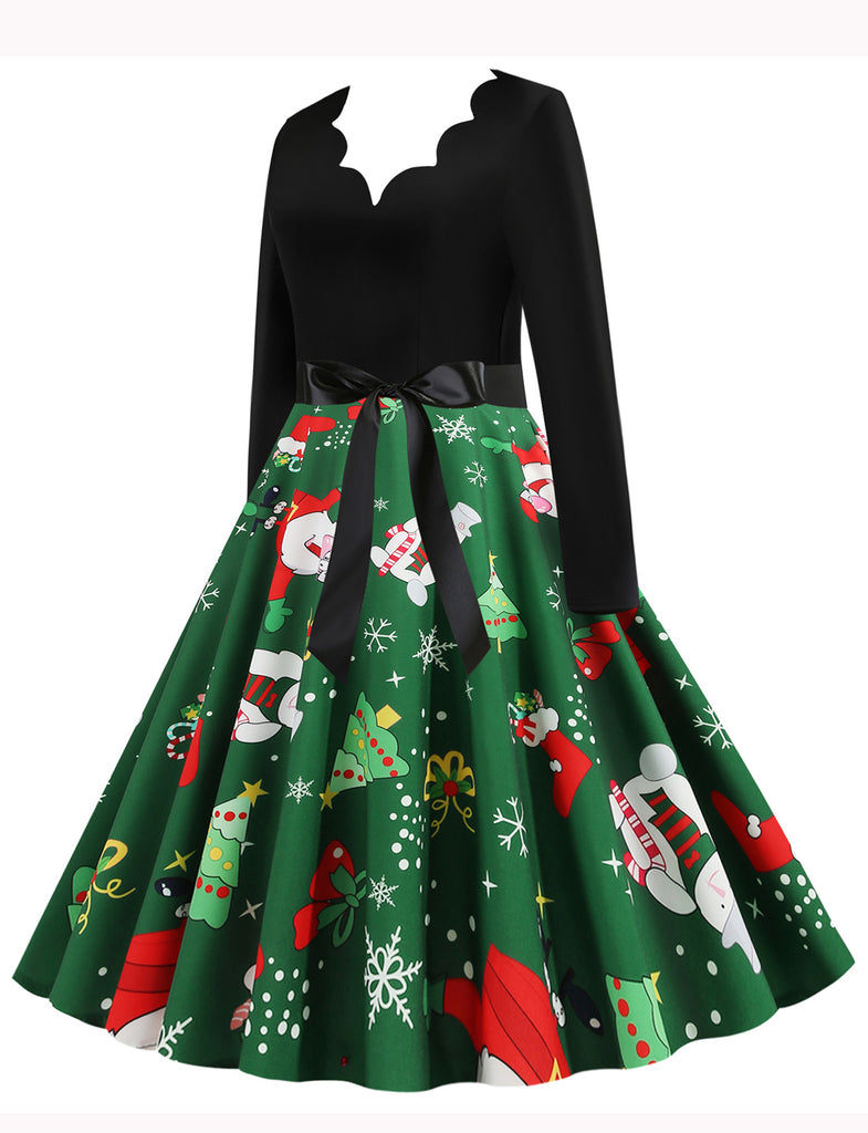 Long Sleeve 1950s Style V-neck A-line Christmas Swing Dress GDCG1045 | Gardenwed