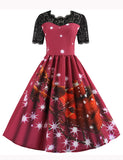 1950s Vintage Style Scoop A-line Patchwork Christmas Swing Dress GDCG1046 | Gardenwed