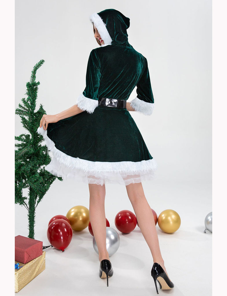 Half Sleeve Hooded Holiday A-line Christmas Costume Dresses GDCG1047 | Gardenwed