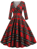 Red Christmas 1950s Vintage Plaid Long Sleeve Swing Dresses GDCG1048 | Gardenwed