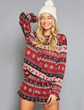 Christmas Print Style Casual Loungewear Long Sleeve Pajamas Set