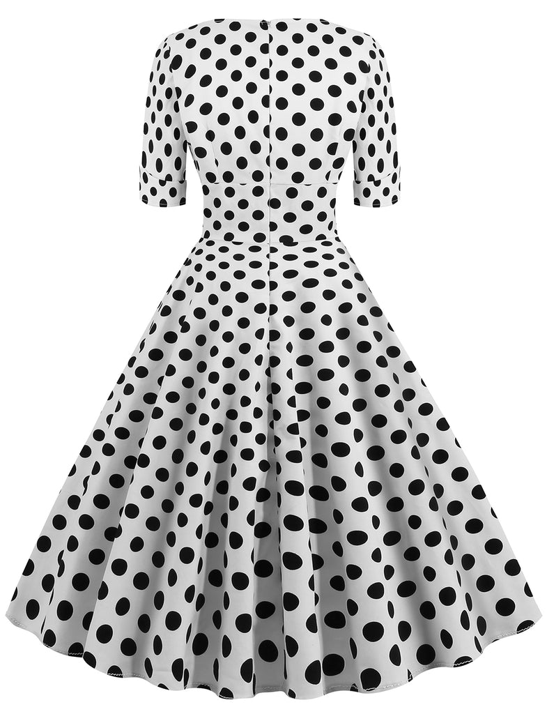 Vintage 1950 Audrey Hepburn V-neck Polka Dot Short Dress GDCG1054 | Gardenwed