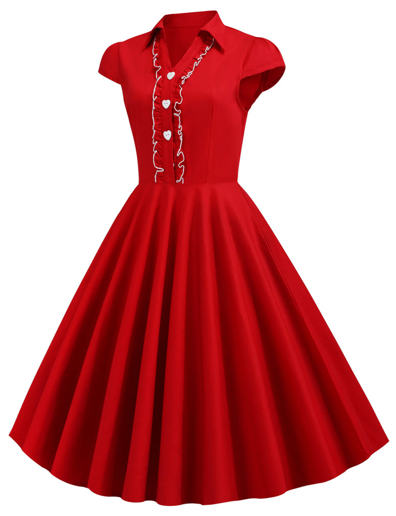 Vintage Style A-line Shirt Collar Short Swing Red Dress GDCG1055 | Gardenwed