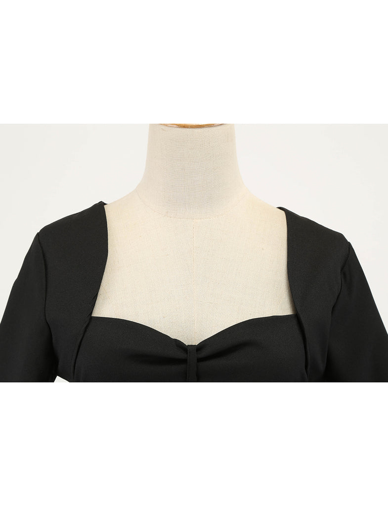 Vintage Sweatheart Neckline Long Sleeve Little Black Dress GDCG1056 | Gardenwed