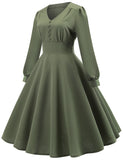 Long Sleeve V-neck A-line 1950s Retro Style Vintage Dress GDCG1057 | Gardenwed