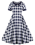 Vintage Style 1950s Plaid Pattern Short Sleeve Swing Dress GDCG1057 | Gardenwed