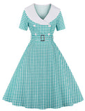 1950s Style Plaid Pattern A-line Short Sleeve Vintage Dress GDCG1059 | Gardenwed