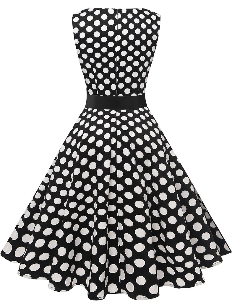 Classic White Polka Dot Audrey Hepburn Aline Style Vintage Dresses Party Dress GDQC009 | Gardenwed