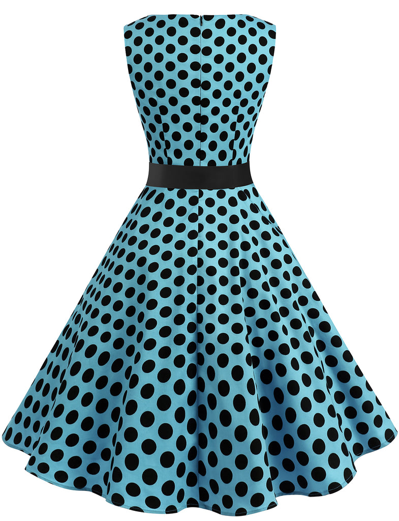 Audrey Hepburn Black Polka Dot Retro Style Dreses For Women Classic Vintage Dress GDQC009 | Gardenwed