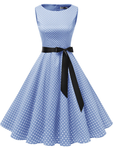 Little White Polka Dot Audrey Hepburn 1950S Style Vintage Dress Rockabilly Dresses GDQC009 | Gardenwed