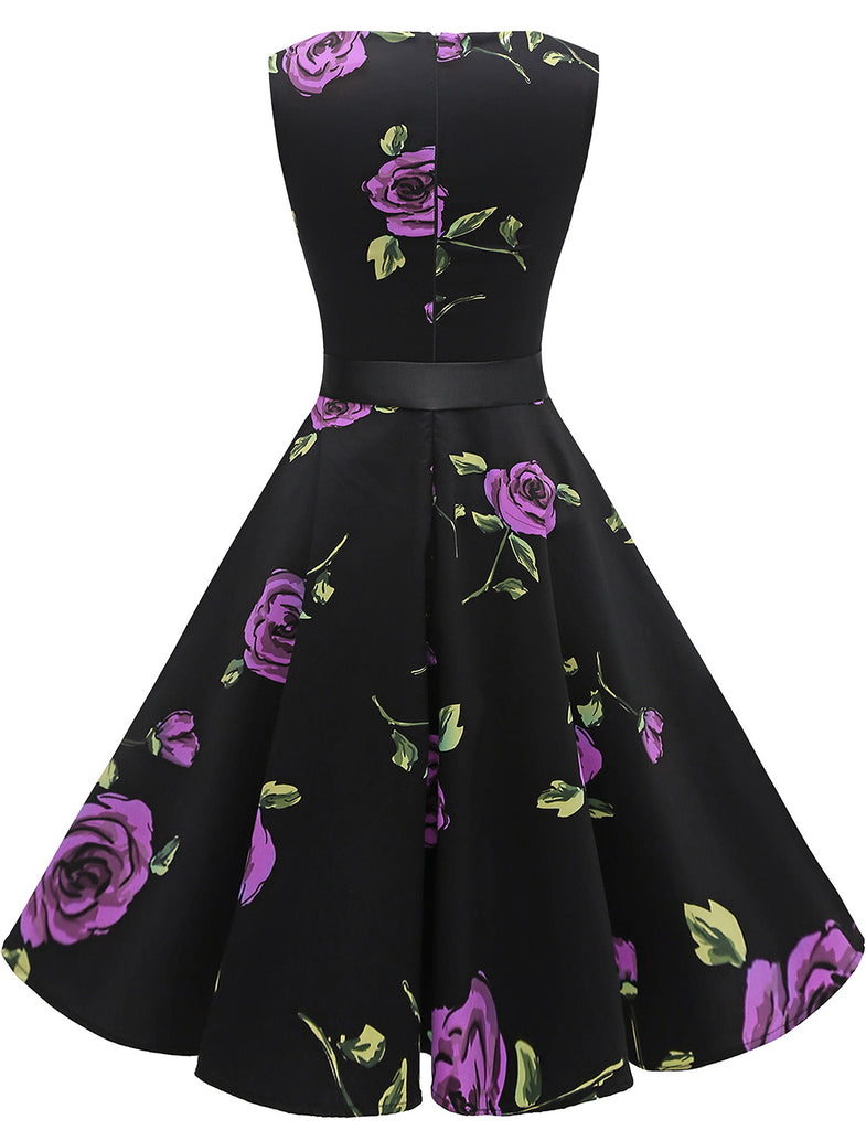 Little Black Dress Rose Print Aline Retro Style Cocktail Dress Cute Party Dresses GDQC009 | Gardenwed