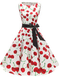 Short Cocktail Dresses A Line Party Dress Cherry Lemon Fruit Print Causal Dress GDQC009 | Gardenwed