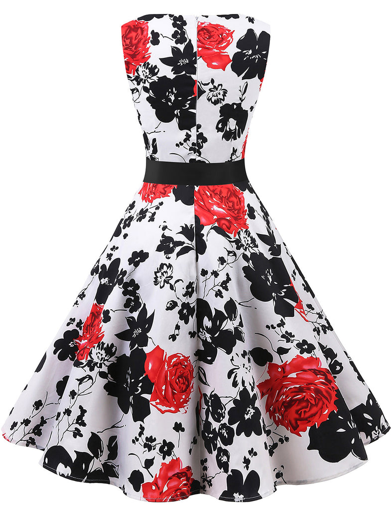 Printed Flower Simple A-line White Party Dresses 1950s Vintage Style Swing Dresses GDQC009 | Gardenwed