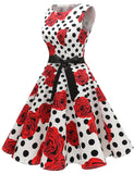 Simple A-line Sleeveless Rose and Polka Dot Dress 1950s Classic Vintage Dresses GDQC009 | Gardenwed