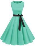 Women's 1950s Dress Pin Up Style Retro Fashion A-line Simple Skater Dress | Gardenwed