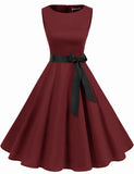 Vintage Style Women's 1950s Retro Dresses Scoop A-line Simple Swing Dress