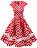 Polka Dot Classic Vintage Dresses Audrey Hepburn Style Simple Swing Dress GDQC016 | Gardenwed