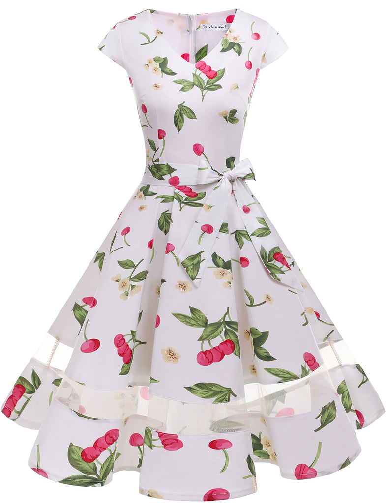 Little Cherry White Party Dress A-line Cap Sleeve Fashion Cocktail Dress GDQC009 | Gardenwed