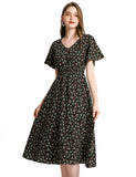 Beach Dresses Vneck Little Black Dresses A-line Short Sleeve Floral Chiffon Dresses