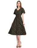 Beach Dresses Vneck Little Black Dresses A-line Short Sleeve Floral Chiffon Dresses GDQC027 | Gardenwed