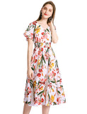 Floral Sun Dresses for Women Flowy Chiffon Dresses Summer Beach Casual Dress GDQC027 | Gardenwed