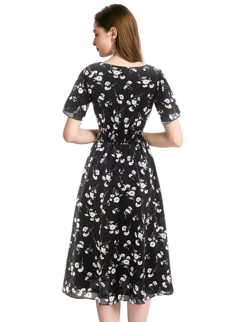 A-line Vneck Pullover Short Sleeve Floral Chiffon Summer Casual Dresses GDQC027 | Gardenwed
