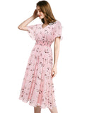 Pullover V-neck Flouncing Sleeve Flowy Floral Chiffon Summer Dress GDQC027 | Gardenwed
