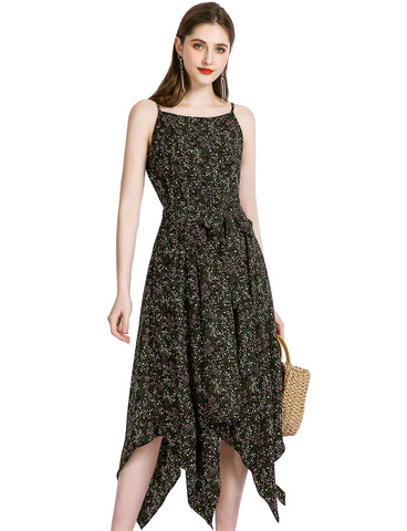 Summer Midi Dresses Asymmetric Beach Dress Floral Chiffon Dress Cheap Causal Dresses GDQC031 | Gardenwed