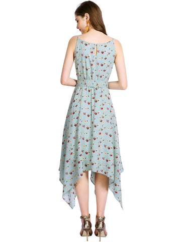 Boho Dress Spaghetti Straps Aline Floral Chiffon Dresses Summer Causal Dress GDQC031 | Gardenwed