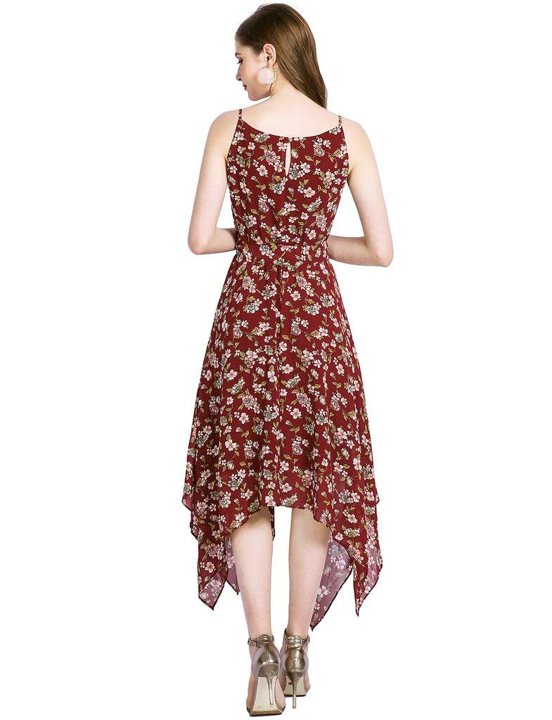 Casual Dress Spaghetti Straps Floral Chiffon Dresses for Women Flowy Beach Dress GDQC031 | Gardenwed
