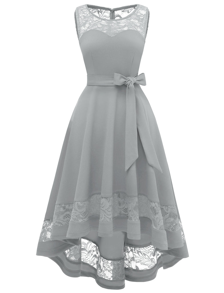 High Low Dresses Patchwork A Line Simple Asymetrique Floral Lace Bridesmaid Dresses GDQC032 | Gardenwed
